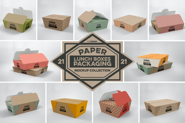 Thumbnail for Paper Lunch Boxes Packaging Mockups