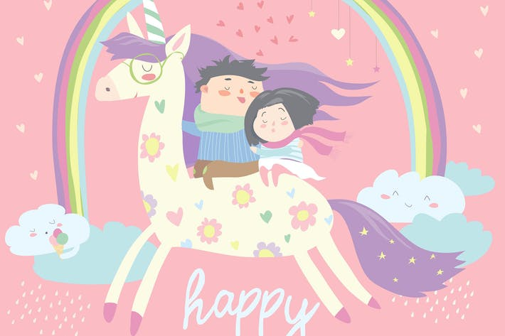 Thumbnail for Couple in love riding on unicorn. Vector romantic