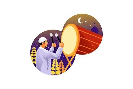Muslim Man Hitting Drum Celebrating Eid Mubarak