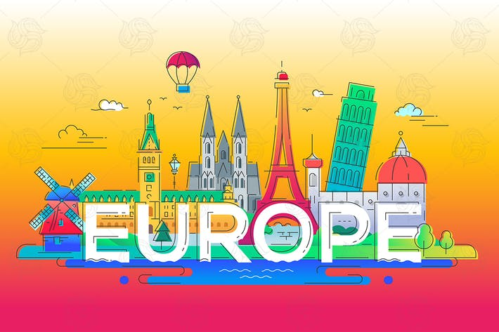 Thumbnail for Europe - flat design composition with landmarks