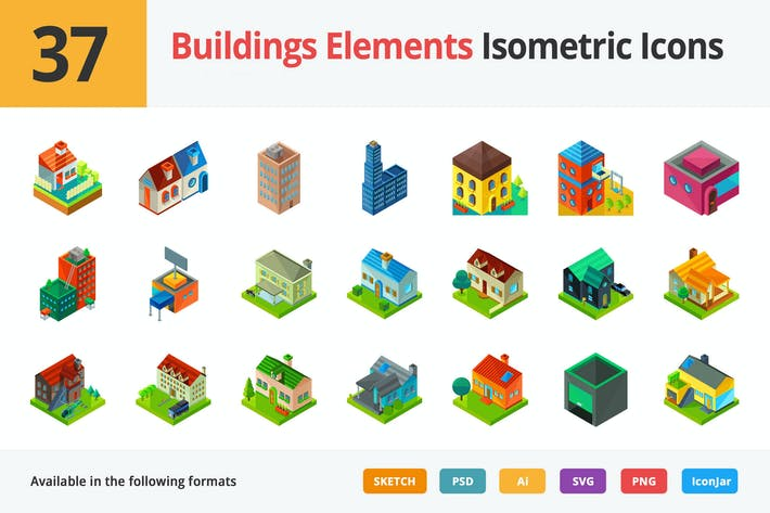 Thumbnail for Building Elements Vector Isometric Icons