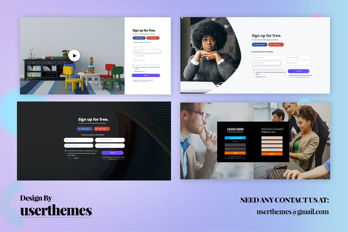 Thumbnail for Website Design Registration Page Form Template