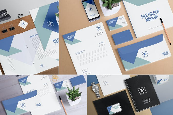 Thumbnail for 4 Stationery Mockup Scenes