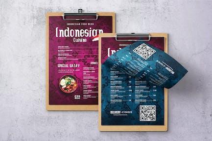 Indonesian Cuisine Single Page Menu
