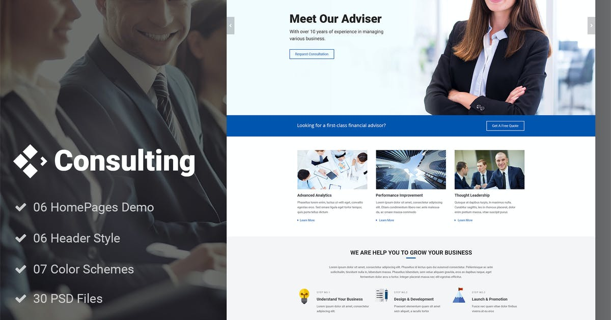 Download Consulting - Finance Broker Advisor PSD Template by AuThemes