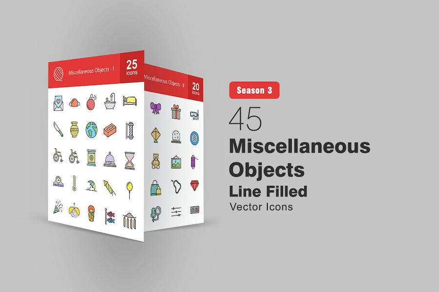 45 Miscellaneous Objects Filled Line Icons
