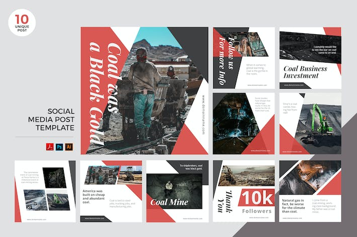 Thumbnail for Coal Mining Social Media Kit PSD & AI
