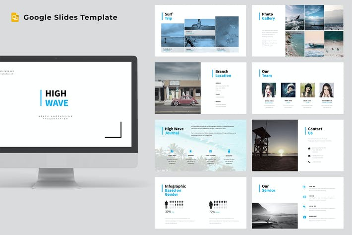 Thumbnail for High Wave - Surfing Google Slides Template