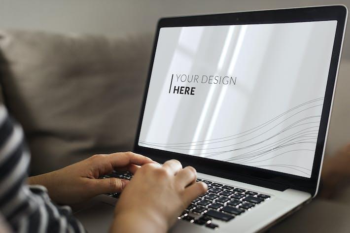 Thumbnail for Woman using Laptop Mockup