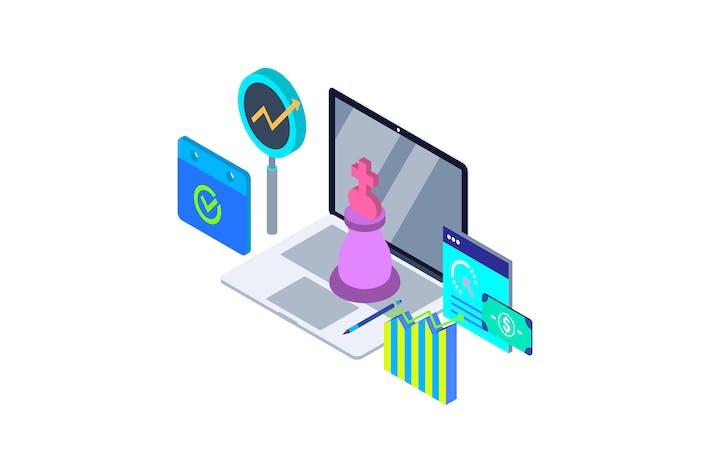 Thumbnail for Marketing Strategy Isometric Illustration