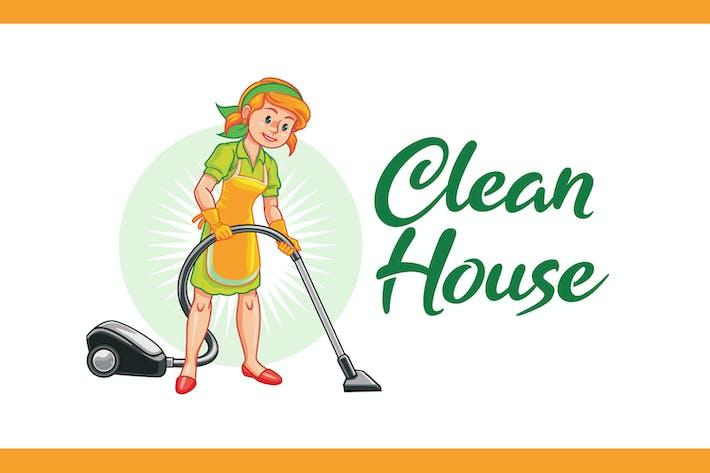 Thumbnail for Cartoon Floor Cleaning Service Mascot Logo