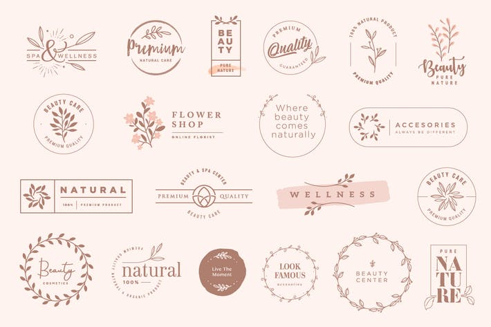 Thumbnail for Set of vintage labels and badges for beauty