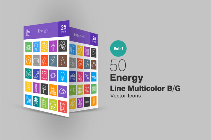 Thumbnail for 50 Energy Line Multicolor Icons