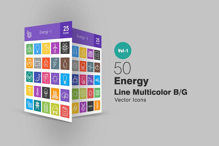 Thumbnail for 50 Íconos de la línea de energía multicolor