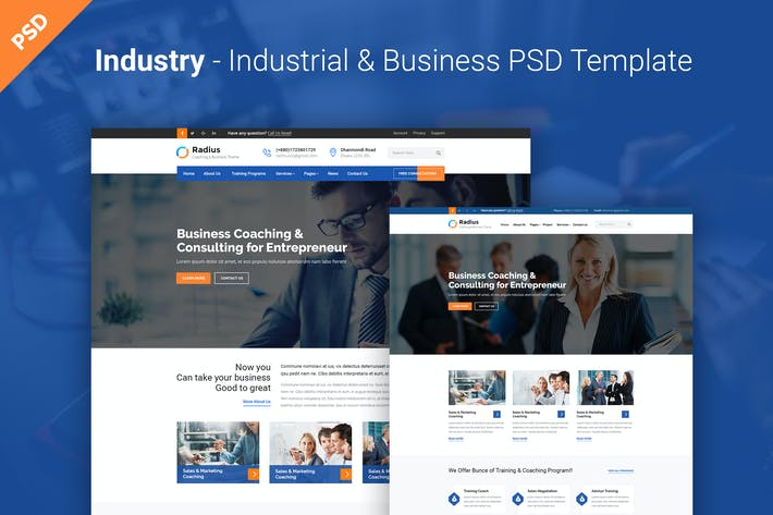 Thumbnail for Radius- Coaching & Business PSD Template