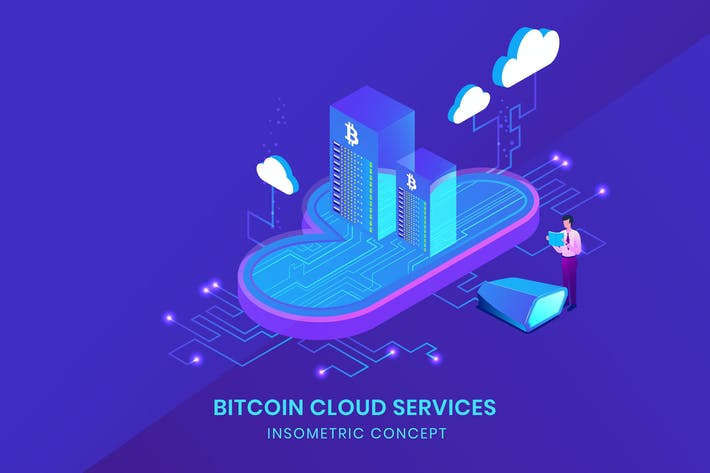 Cover Image For Bitcoin Cloud Services - Insometric Vector