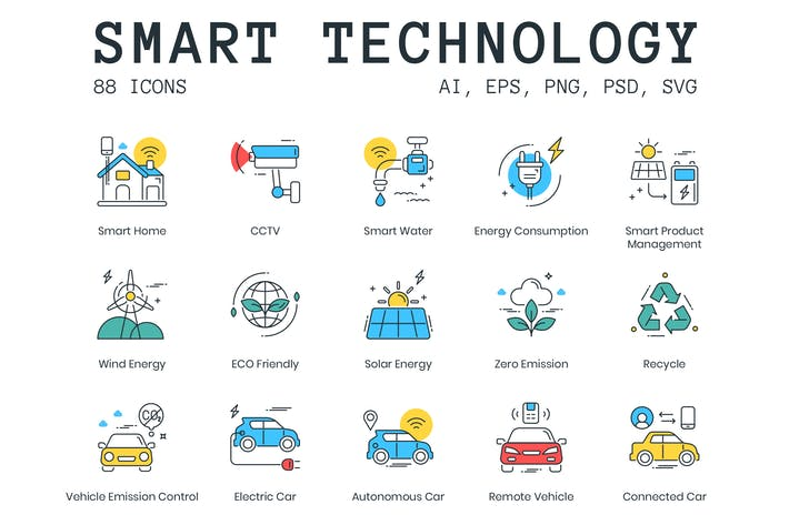 Thumbnail for 88 Smart Technology Icons