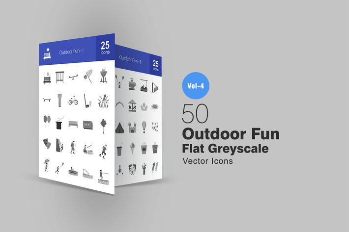 Cover Image For 50 Outdoor Fun Greyscale Icons