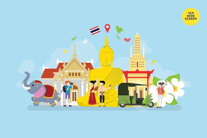 Thumbnail for Thailand Toursim Vector Concept Illustration