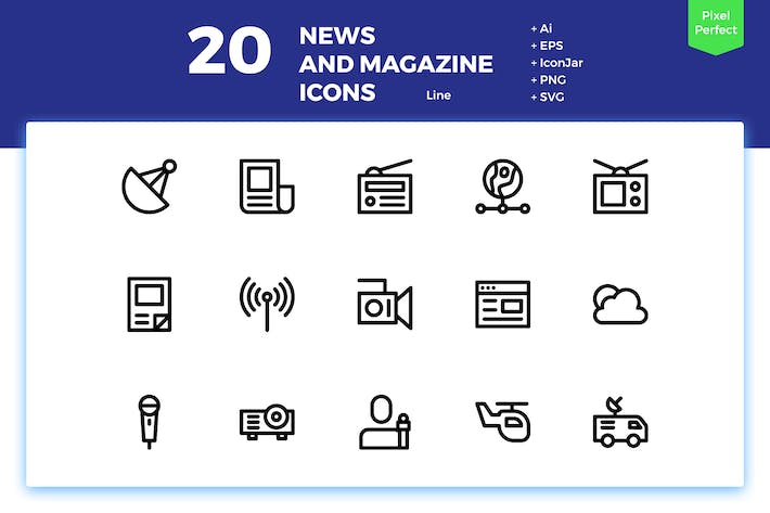 Thumbnail for 20 News and Magazine Icons (Line)