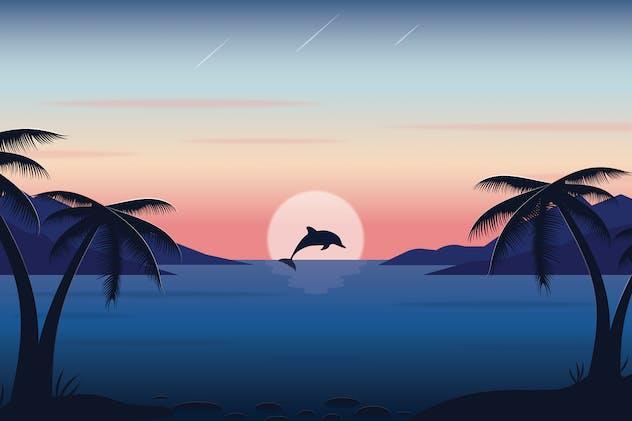 Dolphin Sunset - Landscape Illustration