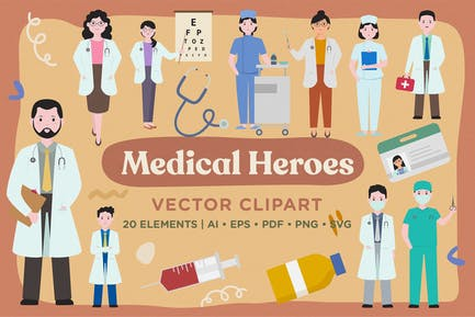 Medical Heroes Vector Clipart Pack
