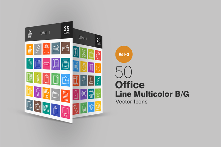 Cover Image For 50 Office Line Multicolor Icons