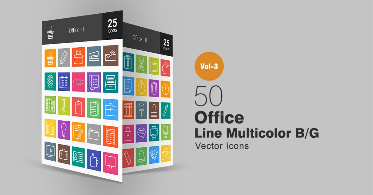 Download 50 Office Line Multicolor Icons by IconBunny
