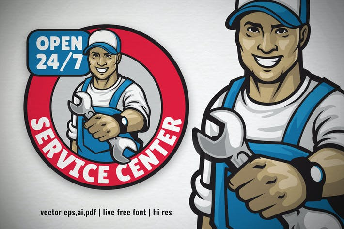 Thumbnail for service center logo with smiling mechanic