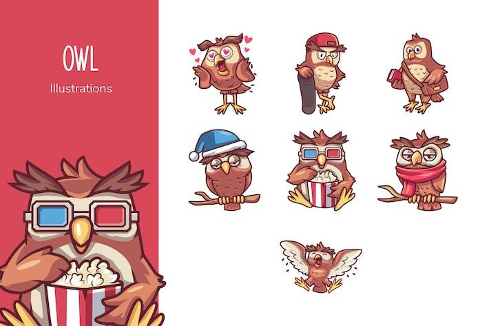 Thumbnail for Eulen-Illustrationen