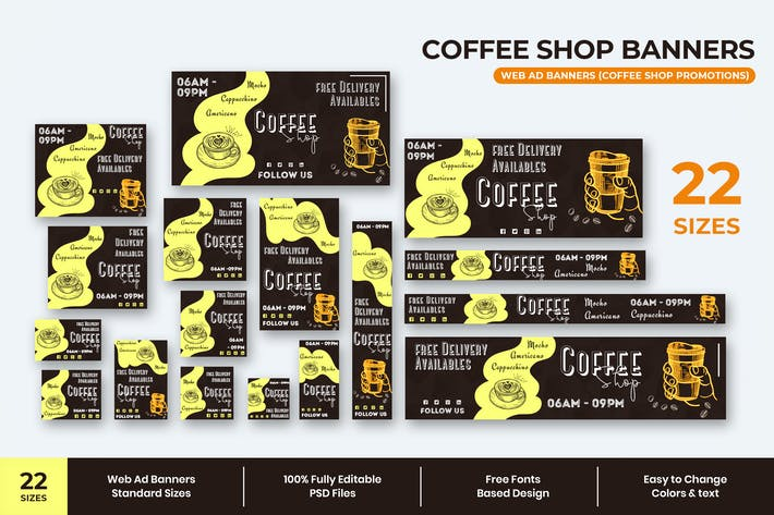 Thumbnail for Coffee Shop Web Ad Banners
