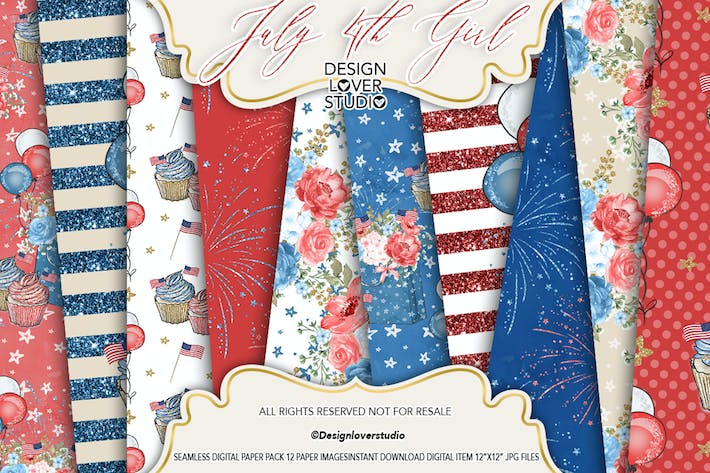 Thumbnail for 4th of July Girl digital paper pack