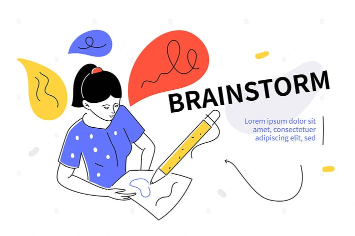 Thumbnail for Brainstorm - colorful flat design style web banner