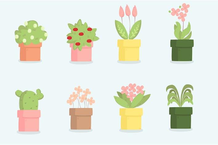 Thumbnail for Pflanzen Cartoon Illustration Set