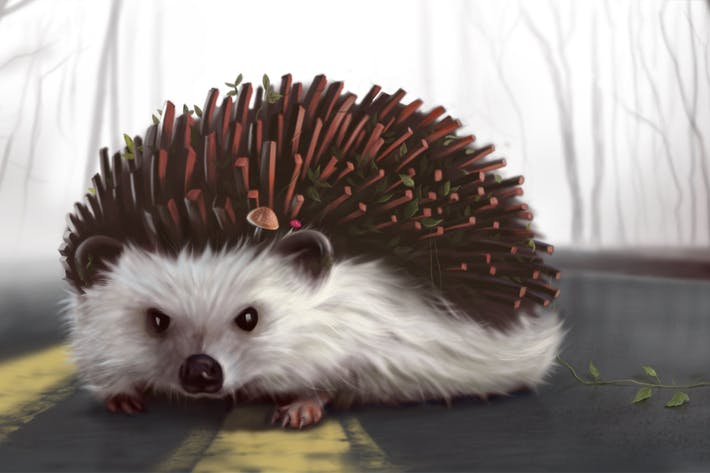 Thumbnail for Porcupine with Plants Hand Drawn Digital Painting