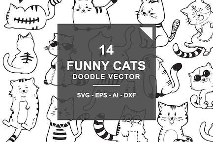 Chats mignons et drôles Doodle Vecteur