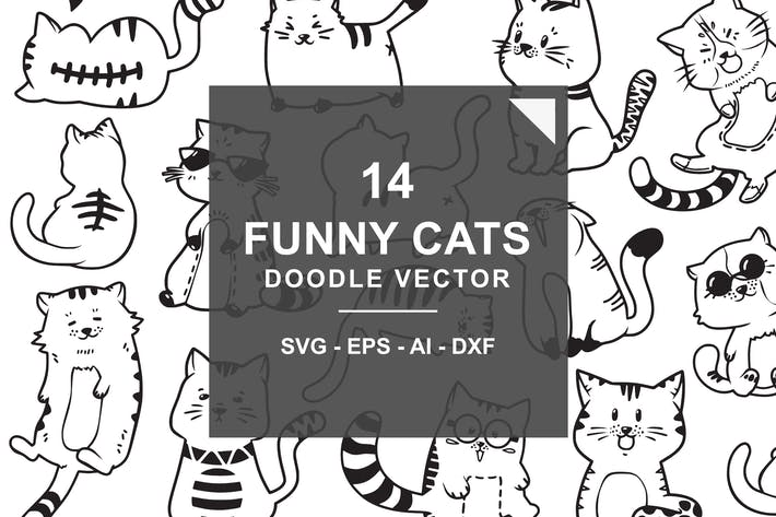 Thumbnail for Cute and Funny Cats Doodle Vector