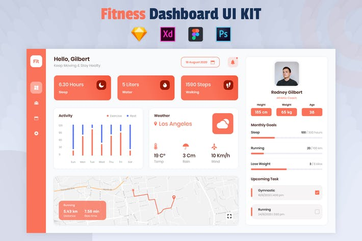 Thumbnail for Nuzie - Fitness Dashboard Template