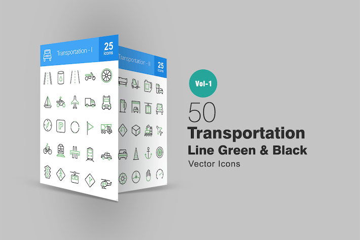 Thumbnail for 50 Transportation Line Green & Black Icons