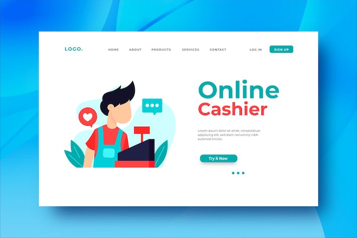 Thumbnail for Online Cashier Landing Page Illustration