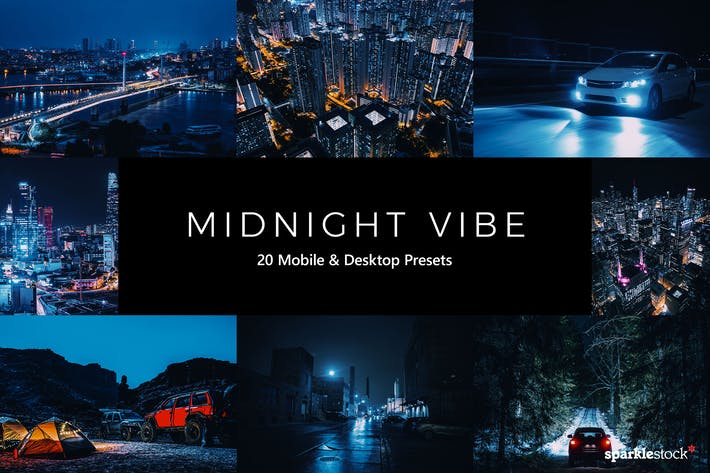 Thumbnail for 20 Midnight Vibe Lightroom Presets & LUTs