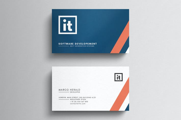 Thumbnail for Information Technology Business Card Template