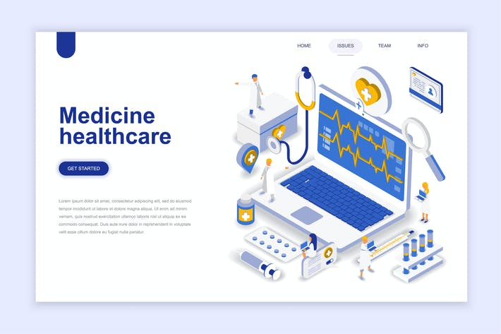 Cover Image For Medicine and Healthcare Isometric Landing Page