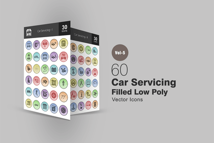 60 Auto-Wartung Gefüllte Low-Poly-Icons