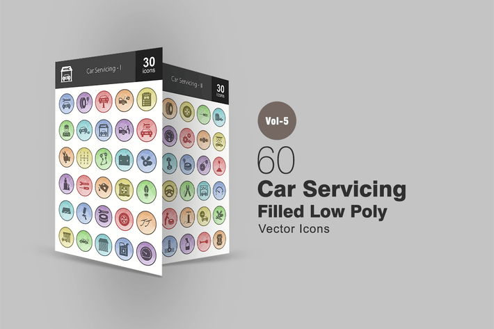 Thumbnail for 60 Car Servicing Filled Low Poly Icons