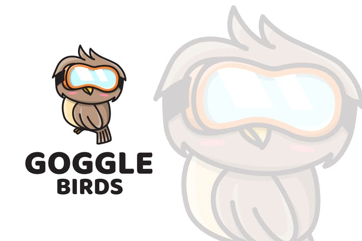 Goggle Birds Cute Logo Template