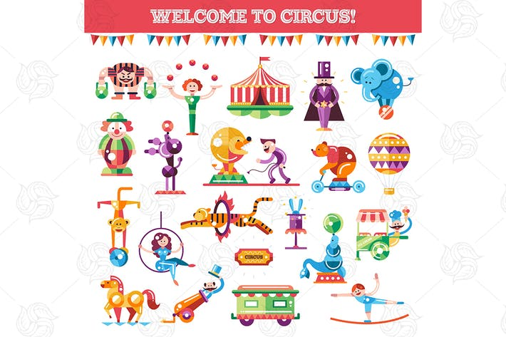 Thumbnail for Welcome to circus - flat design style icons set