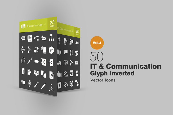 Thumbnail for 50 IT & Communication Glyph Inverted Icons