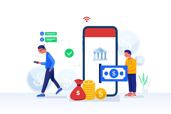 Mobile Banking Konzept Vektor Illustration