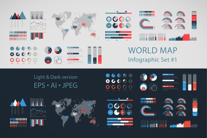 Download 13 infochart graphic templates on envato elements world map infographic set 1 gumiabroncs Image collections